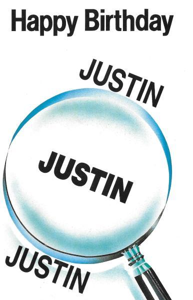 Justin birthday card