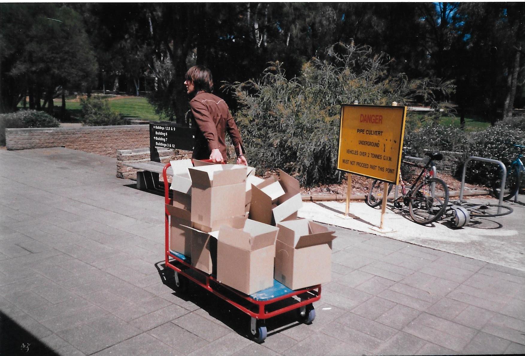Justin hauling Curios